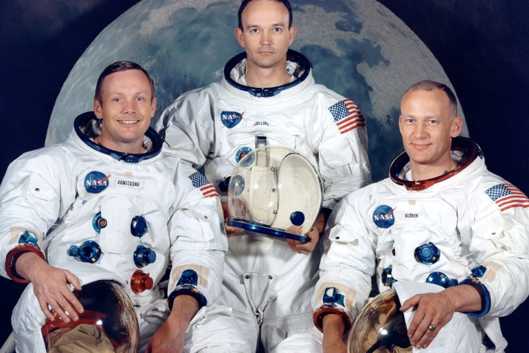 Astronauts Neil Armstrong, Michael Collins and Edwin Aldrin were the first to fly to the moon in July 1969. Collins, centre, piloted the Command module in lunar orbit while Armstrong and Aldrin descended to the surface [File: NASA via Reuters]