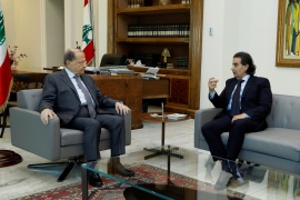 Samir Sfeir, right, meeting Lebanese President Michel Aoun in Beirut on March 1, 2018 [File: Dalati Nohra/Handout via Reuters]