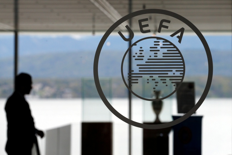 UEFA said clubs that join a European Super League will be banned from playing in any other competition at domestic, European or world level [File: Denis Balibouse/Reuters]