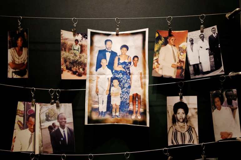 Pictures of Rwandan genocide victims donated by survivors are displayed at an exhibition at the Kigali Genocide Memorial in Gisozi in Kigali, Rwanda [File: Baz Ratner/Reuters]