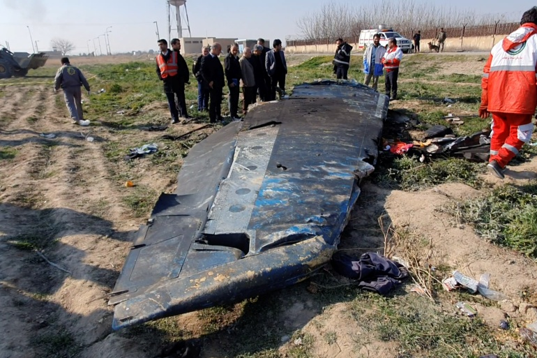 The debris of the Ukraine International Airlines flight that crashed after being hit by missiles after takeoff from Iran's airport last year [File: Reuters]