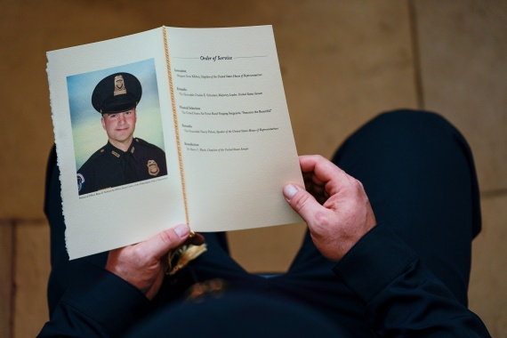 US Capitol Police Officer Brian Sicknick was memorialised in the rotunda of the US Capitol on February 3 [File: Demetrius Freeman/Pool via Reuters]