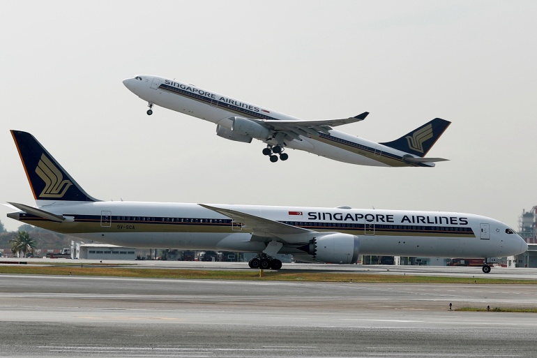 One of the priorities for Temasek, which controls Singapore Airlines, is finding a sustainable and cost-effective alternative to jet fuel [File: Edgar Su/File Photo/Reuters]