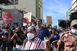 Environmental activists and Indigenous groups have taken to the streets of Windhoek, Namibia to oppose the ReconAfrica drilling project [Lisa Ossenbrink/Al Jazeera]