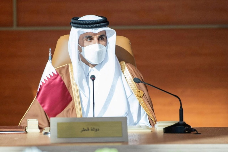 Qatar's Emir Sheikh Tamim bin Hamad Al Thani travelled to Saudi Arabia in January for the GCC summit, but did not meet the king at that time [File: Bandar Algaloud/Courtesy of Saudi Royal Court/Handout via Reuters]