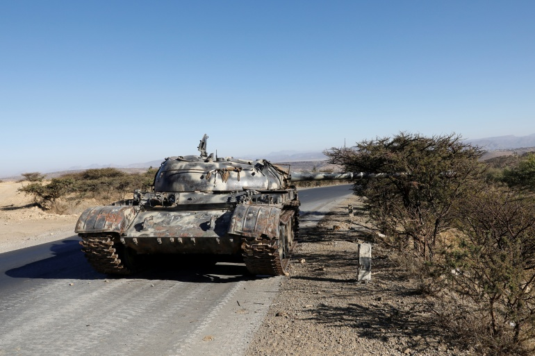 A damaged Eritrean military tank photographed on March 14 near the town of Wikro, Ethiopia [File: Baz Ratner/Reuters]