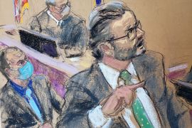 Defence lawyer Eric Nelson cross examines a witness as Judge Peter Cahill and Derek Chauvin listen in his trial for second-degree murder, third-degree murder and second-degree manslaughter on April 7, 2021 in this courtroom sketch [File: Jane Rosenberg/Reuters]