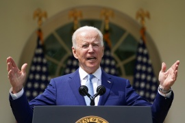 President Joe Biden speaks as he announces executive actions on gun violence prevention in the Rose Garden at the White House [Kevin Lamarque/Reuters]