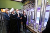 Iranian President Hassan Rouhani reviews Iran's new nuclear achievements during the National Nuclear Energy Day in Tehran on April 10, 2021 [Iranian Presidency Office/WANA via Reuters]