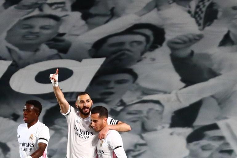 Kemenangan hari Sabtu berarti Real Madrid menyamakan poin dengan Atletico tetapi memimpin klasemen dengan hasil head-to-head yang lebih unggul [Sergio Perez / Reuters]