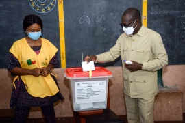 Benin's president Patrice Talon casts his ballot at a polling station in Cotonou, Benin [Charle Placide Tossou/Reuters]