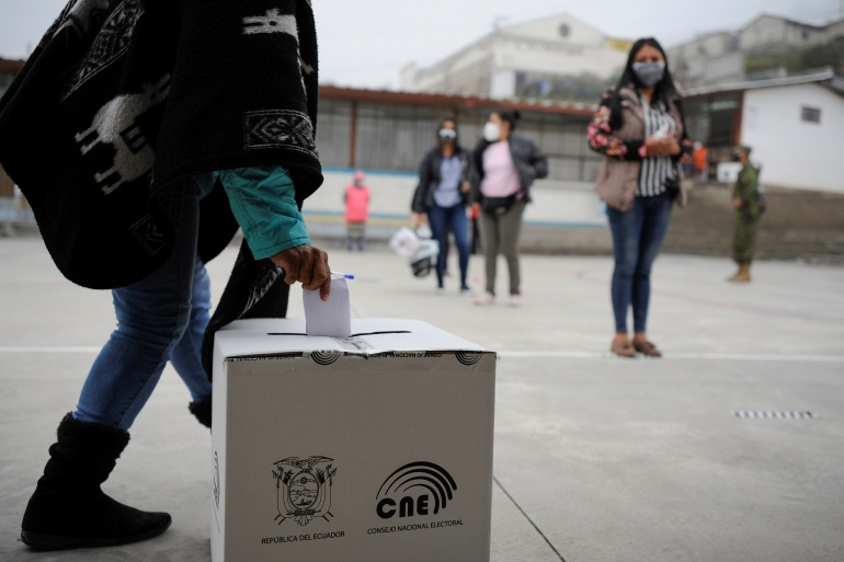 Ecuador's next president will have the strenuous task of addressing a deepening economic crisis, worsened by the COVID-19 pandemic [Santiago Arcos/Reuters]