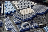 More than a million tonnes of contaminated water is currently in storage at the site of the devastated Fukushima Daiichi power station in northeastern Japan [Kyodo/via Reuters]