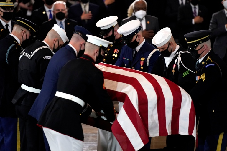 William Evans was honoured by President Joe Biden and members of Congress after being killed in the line of duty [Amr Alfiky/Pool via Reuters]