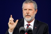 Liberty University President Jerry Falwell Jr speaks during the school's commencement ceremonies in Lynchburg, Virginia, May 11, 2019 [File: Jonathan Drake/Reuters]