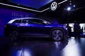 Volkswagen, the maker of this ID.6 X electric SUV on display ahead of the Shanghai Auto Show, says the chip shortage has continued into the second quarter of 2021 [Aly Song/Reuters]