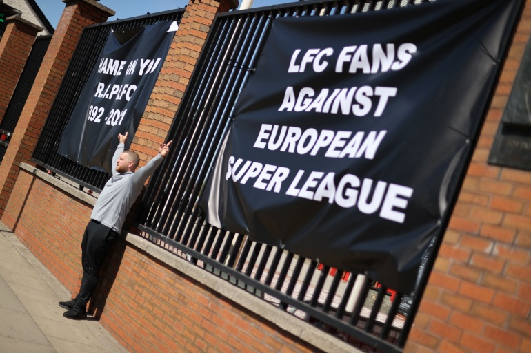 A group of the world's richest football clubs including, Liverpool Football Club, have signed a binding agreement to commit to remaining part of of the Super League, sources tell Bloomberg [Carl Recine/Reuters]