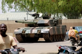 A Chadian army tank seen on Monday near the presidential palace in N'Djamena [Reuters]