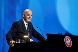 'It is our task to protect the European sport model, so if some elect to go their own way then they must live with the consequences of their choices,' said the chief of world football's governing body, Gianni Infantino [Richard Juilliart/UEFA/Reuters]