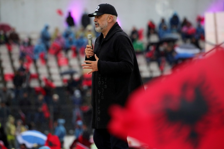 Leader of the Socialist Party Edi Rama delivers a speech during an election rally in Elbasan, Albania [File: Florion Goga/Reuters]