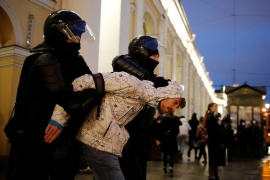 Wednesday's demonstrations took place in nearly 100 towns and cities across Russia's vast territory, according to protest monitoring group OVD-Info [Anton Vaganov/Reuters[