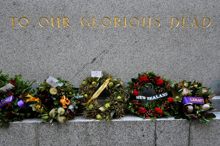 Wreaths were laid early on Sunday - ANZAC Day - to remember the servicemen and women killed in war [Jaimi Joy/Reuters]