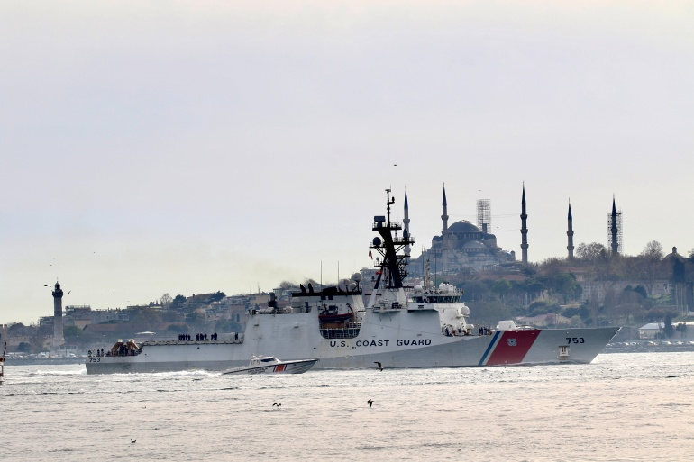US Coast Guard national security cutter USCGC Hamilton enters the Bosphorus, Istanbul on its way to the Black Sea [Yoruk Isik/Reuters]