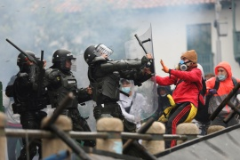 There were clashes between demonstrators and the security forces with riot police using tear gas to disperse the crowds [Luisa Gonzalez/Reuters]