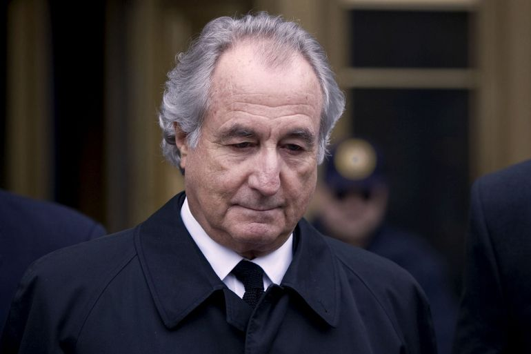 Like Charles Ponzi, whose 1920 con earned him a place in the annals of crime, Bernard Madoff seemed to deliver stunning returns to his clients, when in fact he was paying existing investors with money from new ones [File: Jin Lee/Bloomberg News]