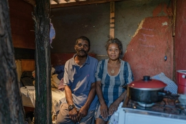 Ana Maria Nogueira and her husband, Eraldo, sit in their home in Jardim Keralux, a poor neighbourhood in Sao Paulo's sprawling eastern zone [Avener Prado/Al Jazeera]