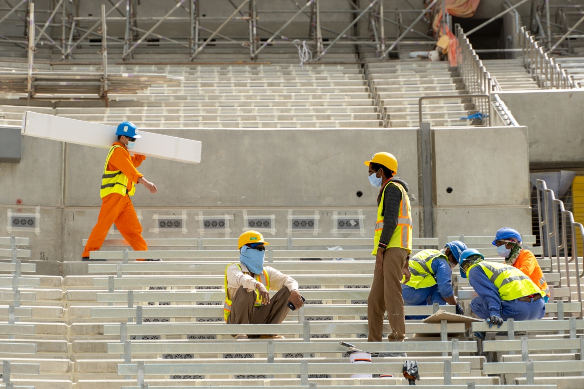 The stadium entrances, interior finishes and progress in concourses, skyboxes and lounges are nearing completion, as are the mechanical, engineering, plumbing and finishing works. [Sorin Furcoi/Al Jazeera]