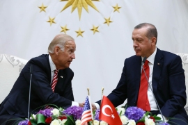 United States President Joe Biden, left, and Turkish President Recep Tayyip Erdogan, right, spoke Friday for the first time since Biden became president [File: Kayhan Ozer, Presidential Press Service Pool via AP]