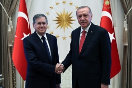 In this file photo from 2019, US Ambassador to Turkey David Satterfield and Turkish President Recep Tayyip Erdogan shake hands [Presidential Press Service via AP Photo]