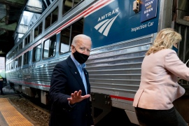 United States President Joe Biden's proposed $2.25 trillion infrastructure package focuses on incremental service improvements to the nation's railroad system, fixing the broken parts of the rail network and improving what Amtrak already does [File: Andrew Harnik/AP]