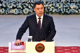 Kyrgyzstan's new President Sadyr Japarov takes his oath of office during his inauguration ceremony in Bishkek, Kyrgyzstan, Thursday, January 28, 2021 [File: Vladimir Voronin/AP]