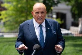Rudy Giuliani, then-President Donald Trump's personal lawyer, talks with reporters outside the White House on July 1, 2020 [File: Evan Vucci/AP Photo]