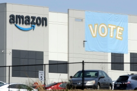The Retail, Wholesale and Department Store Union said in a filing that Amazon threatened workers with layoffs and even the closing of the warehouse if they unionised [File: Jay Reeves/AP Photo]