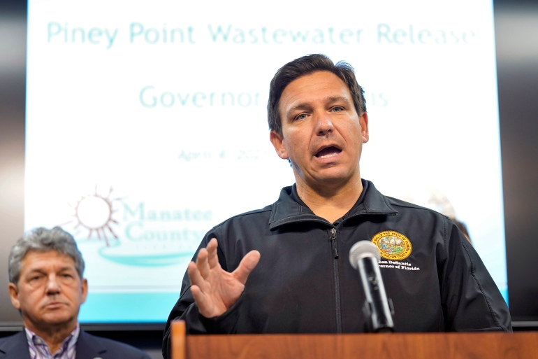 Florida Governor Ron DeSantis gestures during a news conference on April 4 at the Manatee County Emergency Management office in Palmetto, Florida [Chris O'Meara/AP Photo]