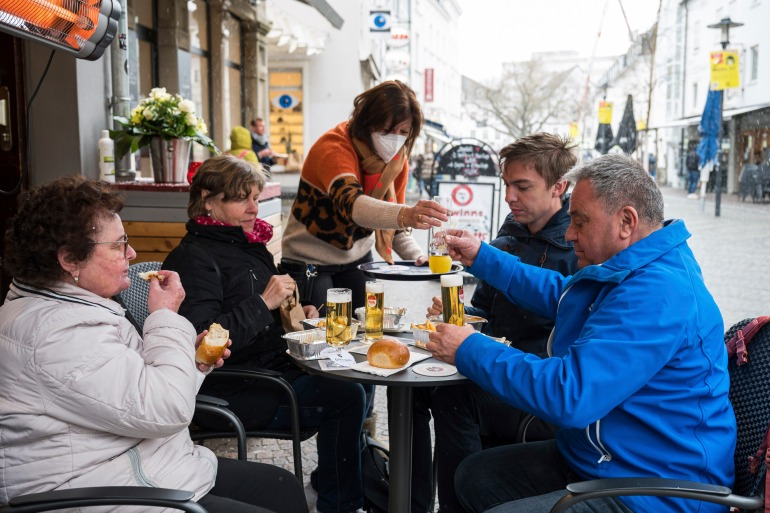 Restaurants in Saarland are now allowed to reopen their outdoor areas under certain conditions [Oliver Dietze/dpa via AP]
