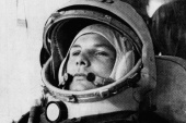Soviet cosmonaut Major Yuri Gagarin, the first man to orbit Earth, in his space suit. Gagarin's 108-minute mission on April 12, 1961 marked a historic achievement for the Soviet Union. [AP Photo]