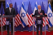 US Defense Secretary Lloyd Austin and Israeli Prime Minister Benjamin Netanyahu gave statements after their meeting in Jerusalem [File: Menahem Kahana/The Associated Press]