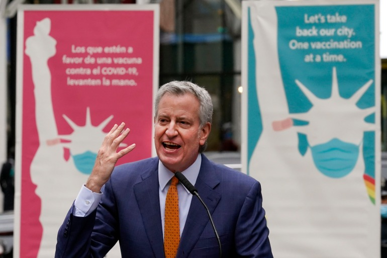 New York City Mayor Bill de Blasio is aiming to lift all citywide coronavirus restrictions by July 1 [File: Richard Drew/AP Photo]