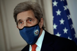 US special envoy for climate John Kerry attends a news conference, March 11, 2021 in Paris [File: Christophe Ena/AP Photo]