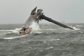 The coastguard and multiple other boats rescued six people on board a commercial lift boat that capsized off the coast of Louisiana on Tuesday night [US Coast Guard/The Associated Press]