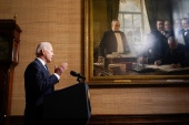 President Joe Biden speaks from the Treaty Room in the White House on Wednesday, April 14, 2021, about the withdrawal of the remainder of US troops from Afghanistan [Andrew Harnik/Pool via AP]