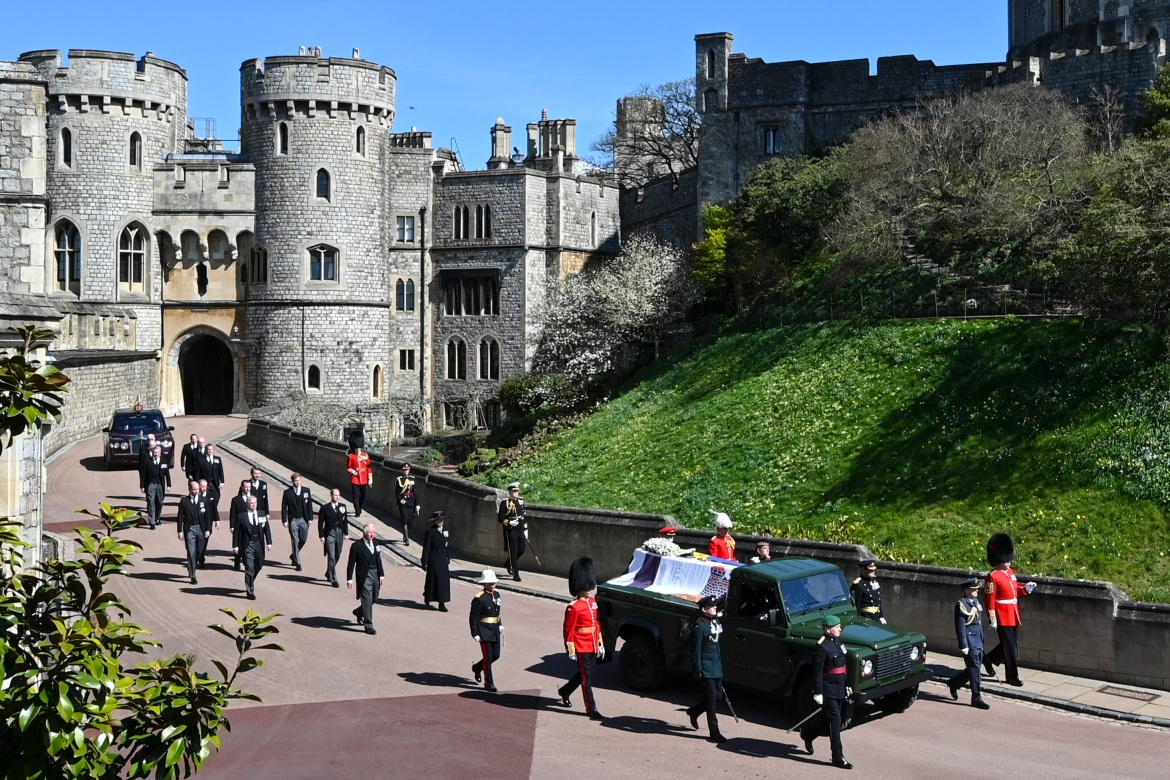 The funeral procession makes its way past the Round Tower inside Windsor Castle. [Leon Neal/Pool via AP]