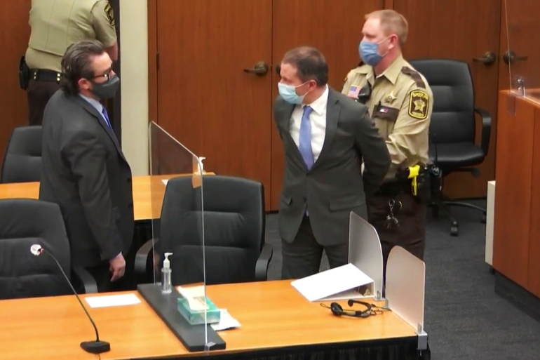 Former Minneapolis police officer Derek Chauvin, (centre), was found guilty of second- and third-degree murder and manslaughter last month in the killing of George Floyd [Court TV via AP]