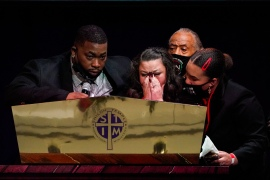 Katie and Aubrey Wright, parents of Daunte Wright, cry as they speak during funeral services of Daunte Wright at Shiloh Temple International Ministries in Minneapolis, Thursday, April 22, 2021 [Julio Cortez/Pool via AP]