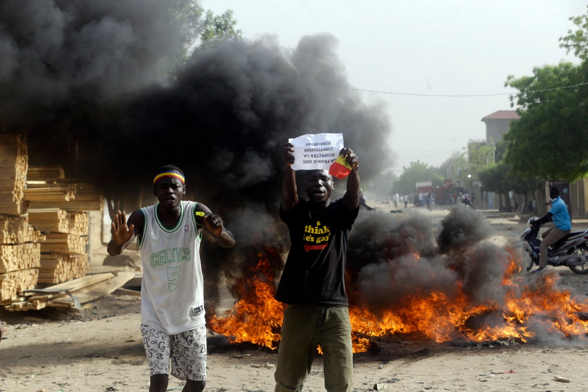 The new military government said at least five people died in the protests. [Sunday Alamba/AP Photo]