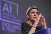 Margrethe Vestager, the European Commission's executive vice president for the digital age, said that with these landmark rules, the European Union is spearheading the development of new global norms to ensure artificial intelligence can be trusted [Olivier Hoslet/AP Photo]